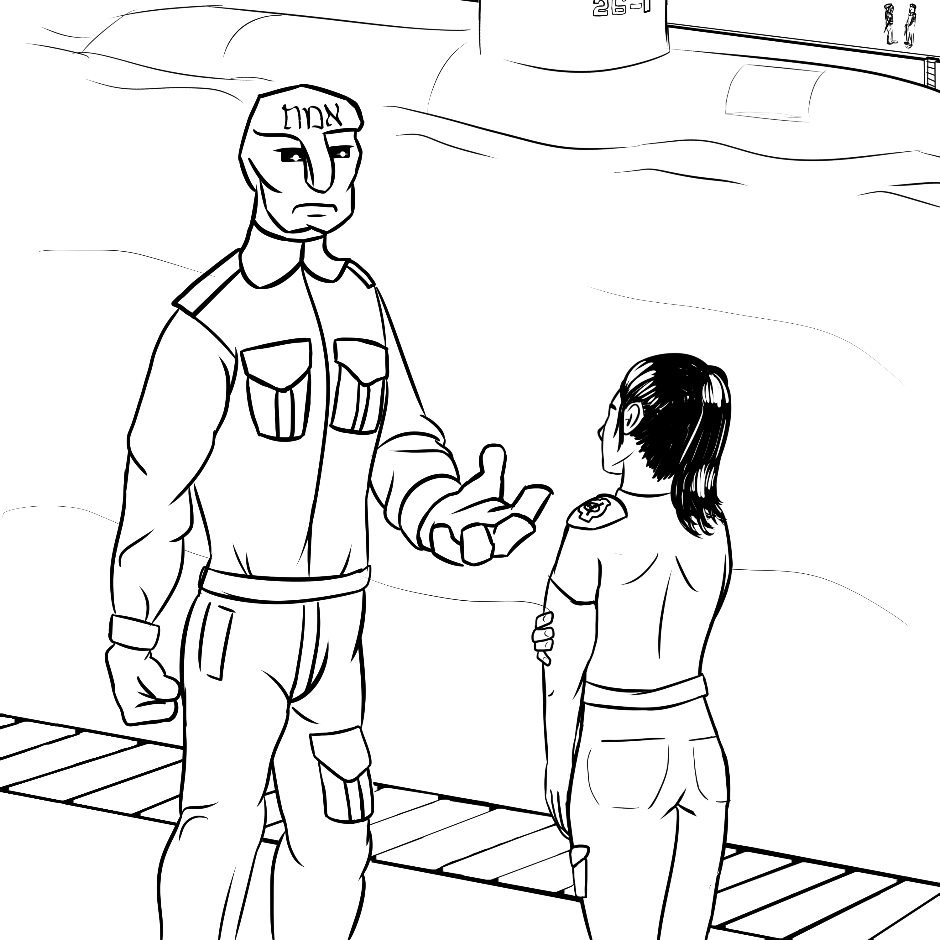 Florence speaks with Josef, the Golem of Prague, in the Site-246 submarine bay.