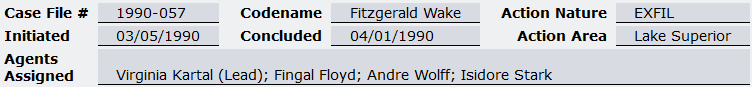 File header for the UIU Operational Record report for Operation Fitzgerald Wake
