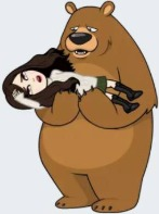 Image of a cartoon version of Stacey Lee swooning in the arms of a confused-looking bear.