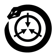 A snake curled around the SCP logo.